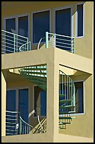 Spiral staircase and balconies on beach house. Santa Monica, Los Angeles, California, USA ( color)