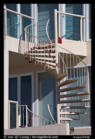 Facade detail of beach house with spiral stairway. Santa Monica, Los Angeles, California, USA (color)