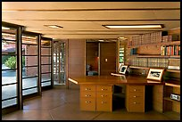 Library and study, Hanna House, a Frank Lloyd Wright masterpiece. Stanford University, California, USA ( color)