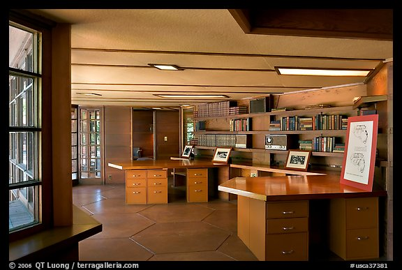 Library with fireplace,  Frank Lloyd Wright Honeycomb House. Stanford University, California, USA