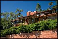 Facade and trees, Frank Lloyd Wright Honeycomb House. Stanford University, California, USA