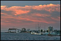 Yachts and industrial installations, port of Redwood, sunset. Redwood City,  California, USA ( color)