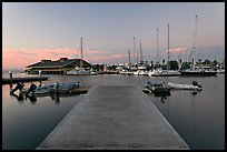 Deck and marina, sunset. Redwood City,  California, USA ( color)
