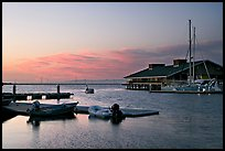Marina, with small boat comming back to port at sunset. Redwood City,  California, USA ( color)