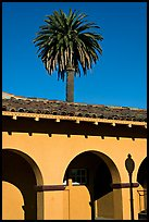 Palm tree and arches, historical train depot. Burlingame,  California, USA ( color)