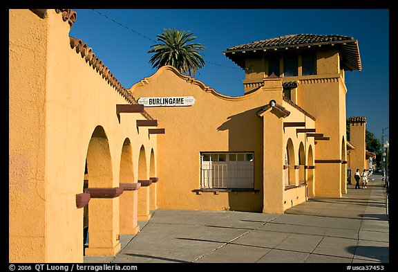 Burlingame railroad station. Burlingame,  California, USA (color)