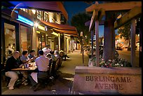Outdoor dining on Burlingame Avenue. Burlingame,  California, USA