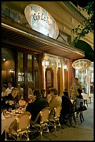 Italian restaurant with diners by night. Burlingame,  California, USA