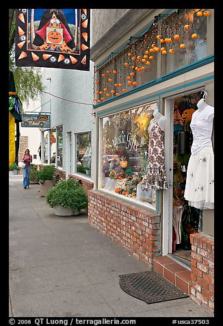 Giftshop decorated with pumpkins. Half Moon Bay, California, USA (color)