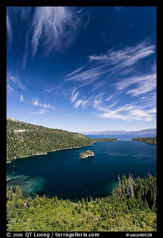 Emerald Bay and Lake Tahoe, Emerald Bay State Park, California. USA (color)