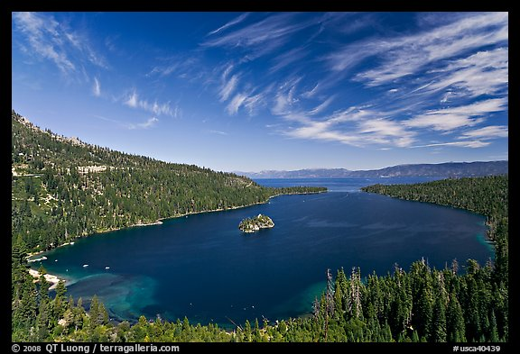 Wide view of Emerald Bay and Lake Tahoe, California. USA (color)