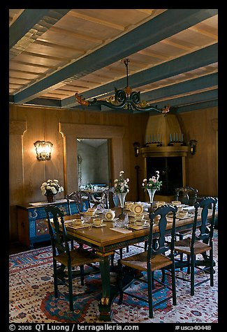 Dining room and dining table, Vikingsholm, Lake Tahoe, California. USA (color)