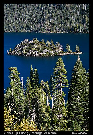 Fannette Island and Tea House, Emerald Bay State Park, California. USA (color)