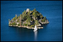 Yacht near Fannette Island, and sailboat, Emerald Bay State Park, California. USA (color)
