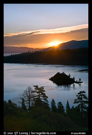 Sunrise over Emerald Bay and Fannette Island, California. USA (color)