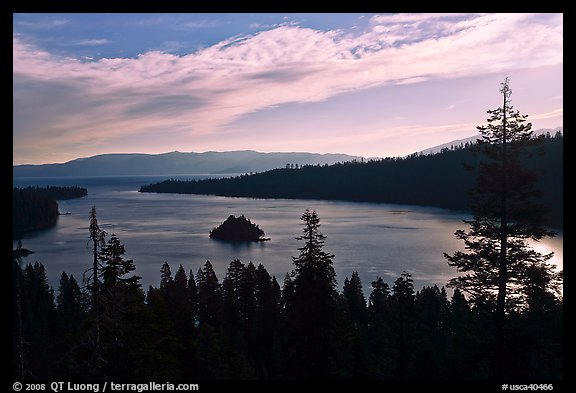 Emerald Bay, Fannette Island, and Lake Tahoe, morning, California. USA (color)