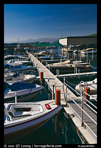 Small boats and dock, Sunnyside marina, Lake Tahoe, California. USA (color)