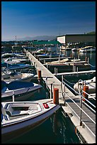 Small boats and dock, Sunnyside marina, Lake Tahoe, California. USA ( color)