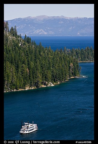 Paddle boat, Emerald Bay, and Lake Tahoe, California. USA (color)