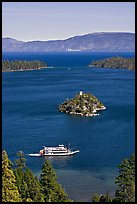 Paddle boat, Emerald Bay, Fannette Island, and Lake Tahoe, California. USA (color)
