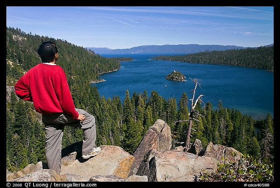 Man standing above Emerald Bay, Lake Tahoe, California. USA (color)