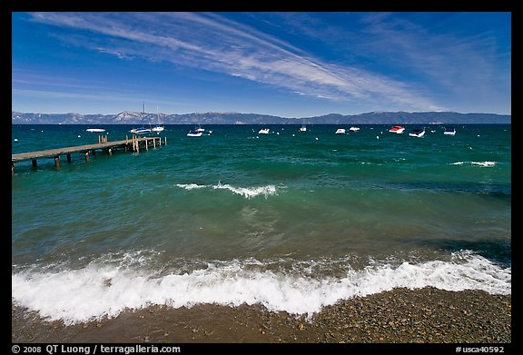 Surf break and dock, West shore, Lake Tahoe, California. USA (color)