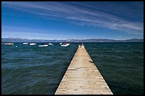 Dock, small boats, and blue waters and mountains, Lake Tahoe, California. USA ( color)