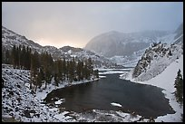 Ellery Lake with fresh snow, sunrise. California, USA (color)