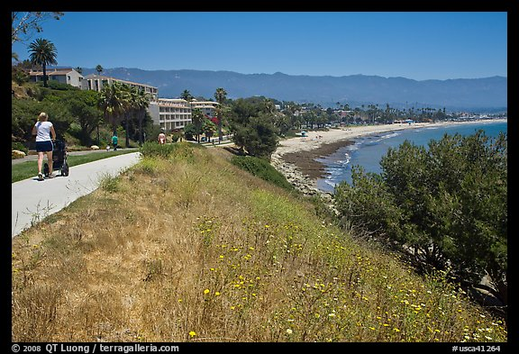 Coastal walkway and beach. Santa Barbara, California, USA