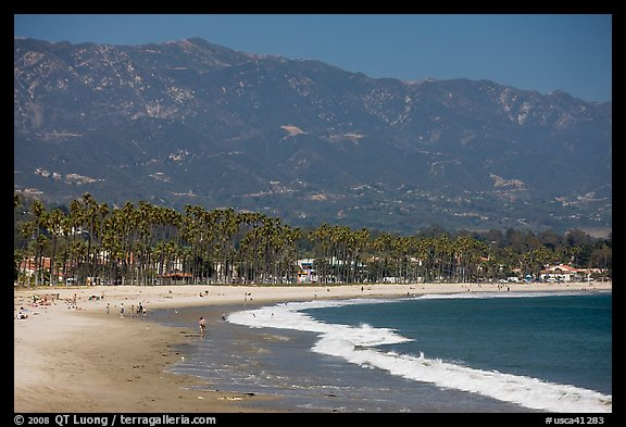 East Beach And Mountains Santa Barbara California Usa
