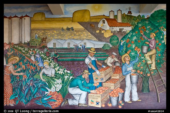 Public Works of Art Project mural, Coit Tower. San Francisco, California, USA (color)