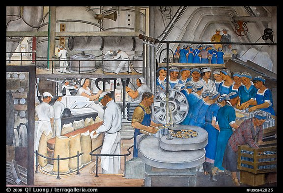 Factory workers depicted in mural fresco inside Coit Tower. San Francisco, California, USA (color)