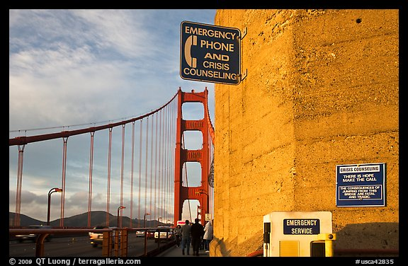 Suicide prevention signs on Golden Gate Bridge. San Francisco, California, USA (color)