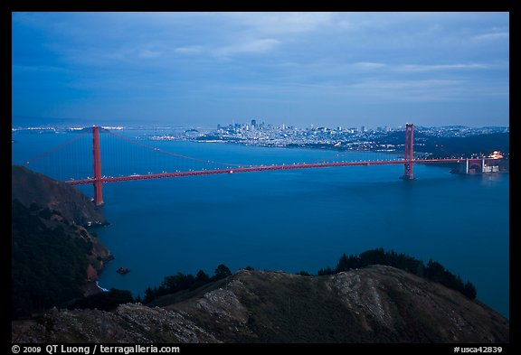 Golden Gate Bridge at dusk. San Francisco, California, USA (color)