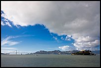 San Francisco Bay, Golden Gate Bridge and Alcatraz. San Francisco, California, USA
