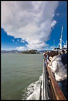 On tour boat cruising towards Alcatraz Island. San Francisco, California, USA (color)