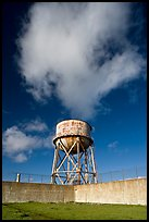 Water tower and cloud, Alcatraz. San Francisco, California, USA (color)