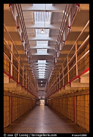 Cellhouse interior, Alcatraz Penitentiary. San Francisco, California, USA (color)