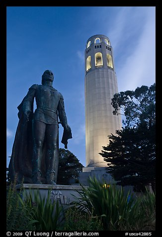 Columbus statue and Coit Tower, dusk. San Francisco, California, USA (color)