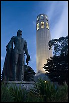Columbus statue and Coit Tower, dusk. San Francisco, California, USA