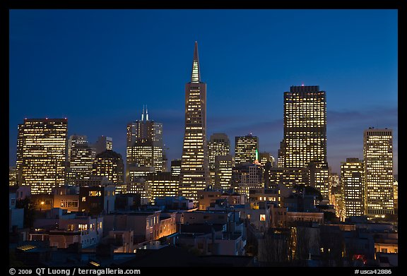 Financial district skyline at dusk. San Francisco, California, USA (color)