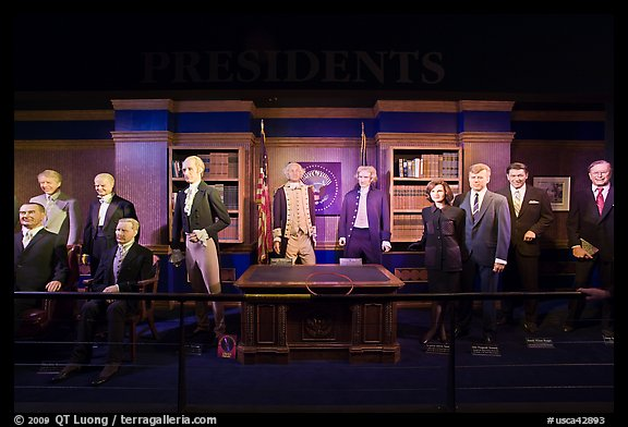 Wax figures of presidents with one outlier, Madame Tussauds. San Francisco, California, USA (color)