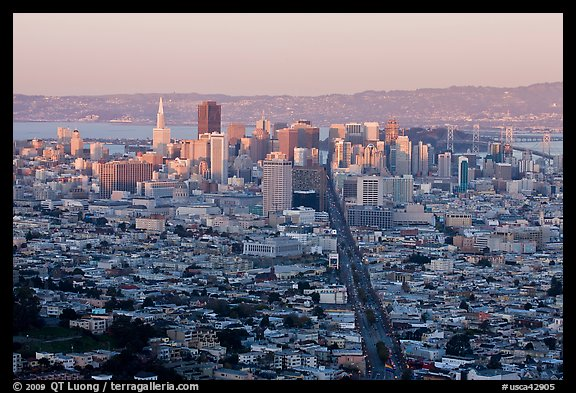 San Francisco cityscape with last sunlight from Twin Peaks. San Francisco, California, USA (color)
