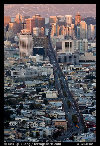 Market Avenue and downtown viewed from above at sunset. San Francisco, California, USA (color)