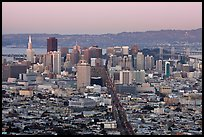 San Francisco skyline view from above at dusk. San Francisco, California, USA ( color)