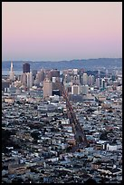 San Francisco skyline view from Twin Peaks at dusk. San Francisco, California, USA ( color)
