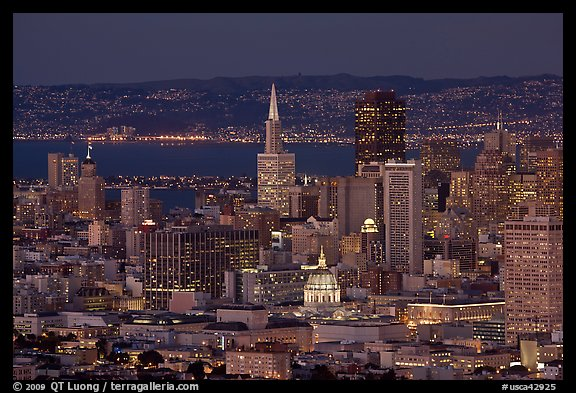 San Francisco downtown skyline at night. San Francisco, California, USA (color)