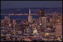 San Francisco downtown skyline at night. San Francisco, California, USA ( color)