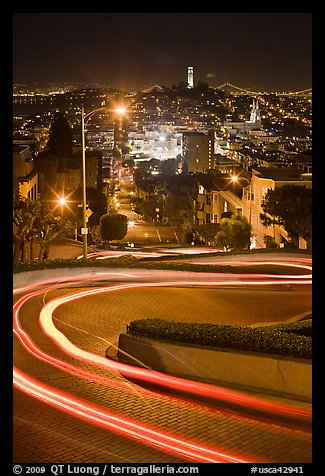 Tight hairpins turn by night on Lombard Street. San Francisco, California, USA (color)