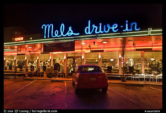Mels drive-in dinner at night. San Francisco, California, USA (color)